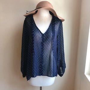 Urban Outfitters Polka dot pintuck Blouse